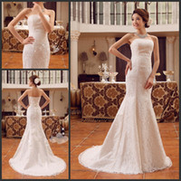 Wholesale Strapless Beach Wedding Bride - 2016 Cheap Beach Wedding Dresses with Sexy Strapless Glamorous Mermaid Backless Lace-up Back Sweep Train Bride Gowns Free Shipping