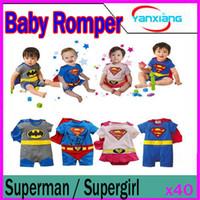 Wholesale Smock Dress Girl - DHL 50PCS Baby Girl Boy Superman SUPERGIRL Romper Baby Dress Smock Baby Cloak Infant YX-HY-02