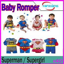 Wholesale Superman Baby Girl - DHL 50PCS Baby Girl Boy Superman SUPERGIRL Romper Baby Dress Smock Baby Cloak Infant YX-HY-02