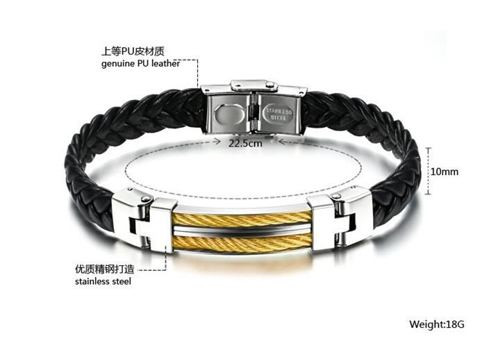 18g N765 classique XMAS cadeau bijoux en cuir en acier inoxydable charme des hommes Bracelet silve or