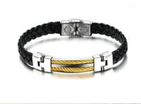 acero inoxidable 18g al por mayor-18g N765 clásico regalo de la joyería de XMAS de cuero encanto de los hombres de acero inoxidable pulsera de oro de plata