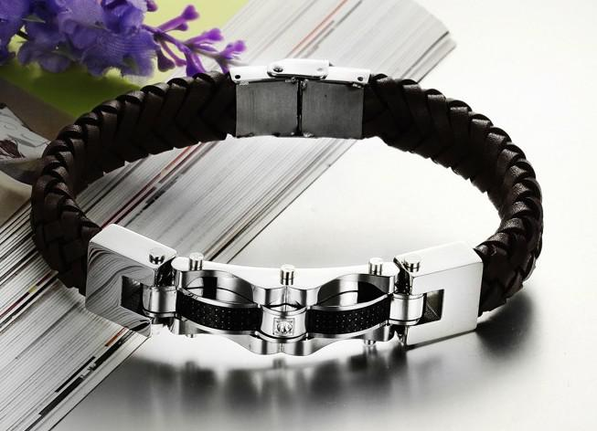 2013 nieuwe stijl 48g mode-sieraden lederen roestvrijstalen heren 12 mm armband zilver