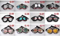 Wholesale Goggle Motorcycle Silver Lens - Motorcycle Goggles Aviator CE Approve Cycling UV Lens Bicycle Glasses Steampunk Cruiser Helmet Racing Eye wear - Free Shipping - 12 Colors