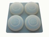 geléia de borracha fda venda por atacado-10 pçs / lote 100% de borracha de silicone 4 furos círculo forma semi translúcido silicone bolo / molde chocalate / jelly mold / soap mold + frete grátis