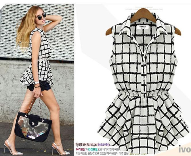 New Women Lapel Stripe Shirts Girls Fashion Sleeveless Grid Chiffon Shirt Ladies Dresses