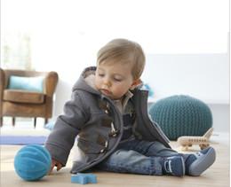 Vente en gros détail bébé garçons hiver tranchée épaississement survêtement enfants Hoodies Manteau Double Breasted 5 tailles (80-90-100-110-120cm)