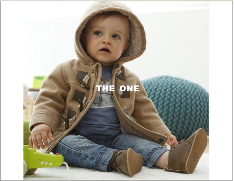 Venta al por menor Baby Boys trinchera de invierno prendas de abrigo prendas de vestir Sudaderas con capucha Abrigo doble talla 5 tamaños 80-90-100-110-120cm