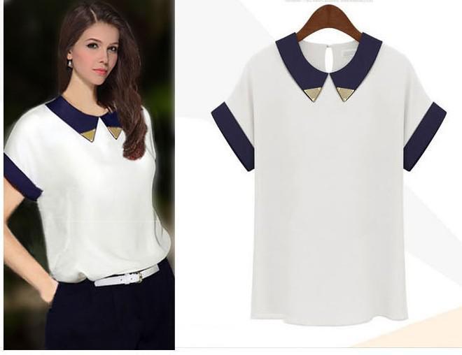 Summer New Women Short Sleeve Shirts Girls Fashion Chiffon Wild Collision Color Shirt