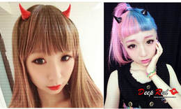 Wholesale Devil Horn Hair Clips - Free shipping 24pcs lot the devil horns hairpin 15 neon colors angle Harajuku cute exaggerated hair clip bobby pins