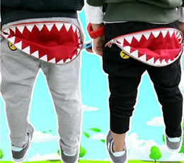 Poches À Glissière Pour Garçons Pas Cher-Livraison gratuite Boys Girls Kids Spring Autumn Casual Harem Pants Zipper Pocket Shark Mouth Leisure Pantalons en coton Pantalons décontractés pour enfants