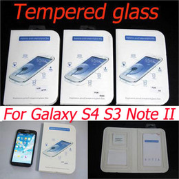Wholesale S4 Note Ii - Glass film 9H Tempered Glass Screen Protector explosionproof Glass film For Samsung galaxy S3 S4 I9300 Note II N7100 free shipping