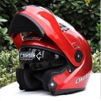Wholesale Ls2 Helmets Blue - ECE DOT helmet LS2 undrape face helmet OFF Road Helmet with ABS Red Color Motorcycle helmet Moto racing helmet Ls2 FF370 Motorbike helmet