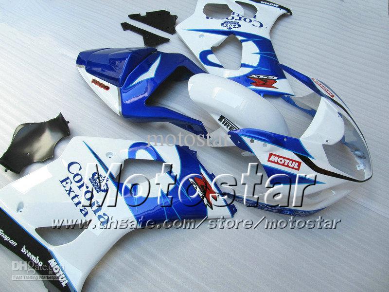 7 geschenken ABS-bubbelboeken voor Suzuki GSX-R1000 K3 2003 2004 GSXR1000 03 04 GSX R1000 Glanzend Wit Zwart Corona Fairing Carrosserie SA83