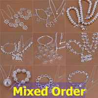 Wholesale Mixed Order Necklace - Mixed Order 925 Sterling Silver Plated Mutli Styles Love Butterfly Flowers Necklace+Bracelet+Earrings Jewelry Set #SET116
