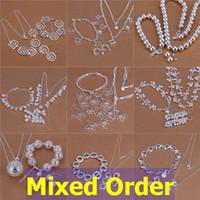 Wholesale Butterfly Rhinestone Bracelet Crystal - Mixed Order 925 Sterling Silver Plated Mutli Styles Love Butterfly Flowers Necklace+Bracelet+Earrings Jewelry Set #SET116