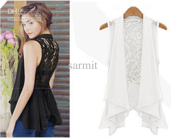 Summer Ladies White Shirt Fashion Chiffon Lace Blouse Tops with Lace Back and Waist Belt Korean Style