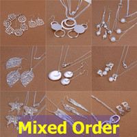 Wholesale Butterfly Pearl 925 - Mixed Order 925 Sterling Silver Plated Multi Styles Tassels Butterfly Round Dangle Necklace + Earrings Jewelry Set #SET121