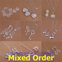 Wholesale Sterling Silver Key Earrings - Mixed Order 925 Sterling Silver Plated Multi Styles Tassels Daisy Key Beads Necklace + Earrings Jewelry Set #SET122
