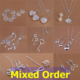 Wholesale Tassel Pearl Mother - Mixed Order 925 Sterling Silver Plated Multi Styles Tassels Daisy Key Beads Necklace + Earrings Jewelry Set #SET122