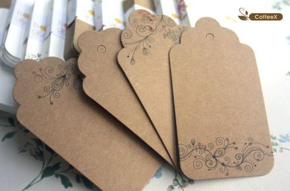 Scallop Blank Cardstock Preisausschlag Tag, Retro Geschenk Fall Tag, Kraftpapier Geschenkkarte Tag Lesezeichen Label Hang Tag