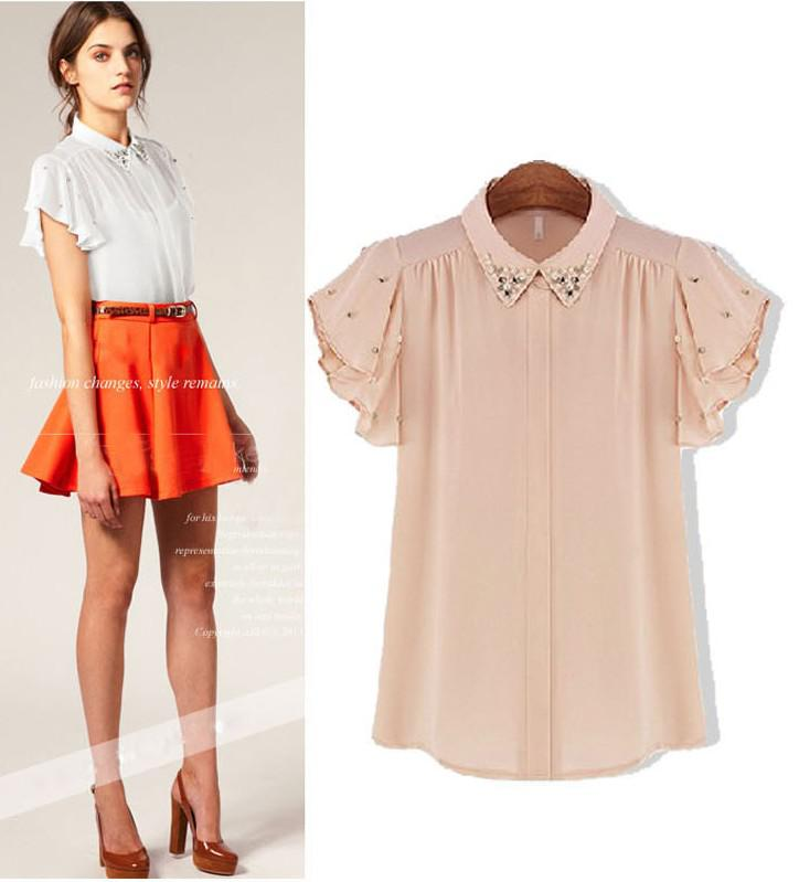 Summer New Women Bat Sleeve Diamond Collar Women's Chiffon Shirt