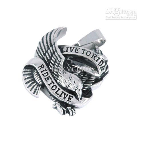 Frete grátis! Rive ao espírito da vida Eagle Biker pingente de aço inoxidável jóias Classic Motor Biker Men pandent-SWP0028
