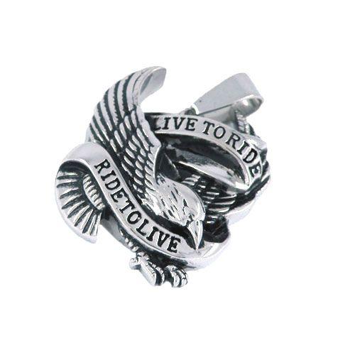 Geen verzendkosten! Rive to Life Spirit Eagle Biker Pendant Rvs Sieraden Klassieke Motor Biker Mannen Pandent-SWP0028