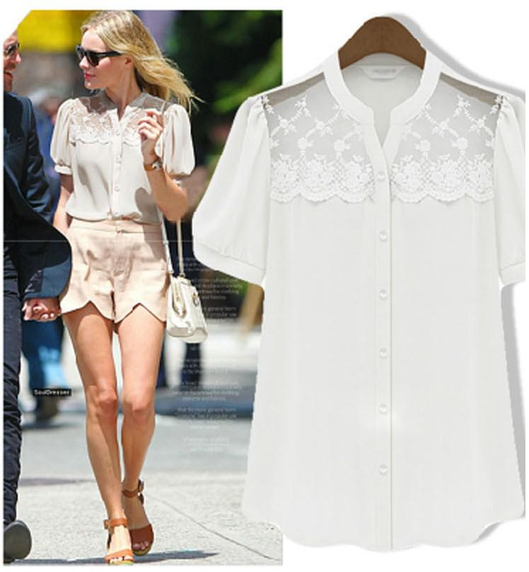Summer New Women Short Sleeve Lace Chiffon Shirt
