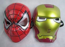 kids mask making 2019 - free shipping 10pcs lots HALLOWEEN MASK Cosplay Glowing Spiderman  Spider-Man Mask Eyes Make up Toy for Kids Boys discou