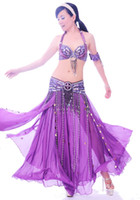 Wholesale Belly Dance Ruffled Skirts - New Belly Dance Costume 3 Pics Bra&Belt&Skirt 34B C 36B C 38B C 40B C 12 Colors