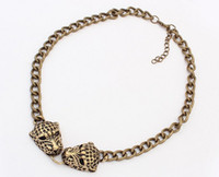Wholesale Double Leopard Necklace - Unisex New Arrival European Vintage Punk Style Bronze Alloy Double Leopard Head Choker Pendant Necklace 12pcs lot