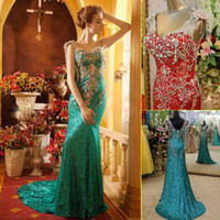 Wholesale Dress Prom Swarovski - New Luxury Real Image Swarovski Crystals Formal Evening Dresses V Neck Beads Sequin Shining Sheath Floor Long Prom Gowns Custom Made 2015