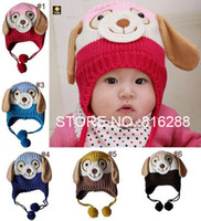 Wholesale Dog Baby Winter Cap - hot sale retail christmas hat animal dog shaped knitted baby caps boy girl winter hat for child to keep warm 5 colors for choose for 0-4T