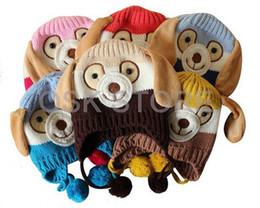 Wholesale Knit Hats For Infant Girls - new christmas baby hats infant animal caps dog shaped knitted baby caps boy girl winter hats for child to keep warm 5 colors u pick for 0-4T