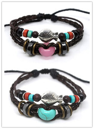 Wholesale Fishing Order - A0255 wholesale leather bracelet promotion gifts Mix order with fish 100% new handmade jewelry wristband 2 colors 20pcs lot