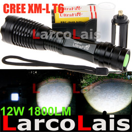 Wholesale 12w Led Flashlight - UltraFire 12W 1800 Lm CREE XM-L T6 Focus Adjust Zoom Led Mini Flashlight Torch 18650 Li-ion Battery Charger Free Shipping