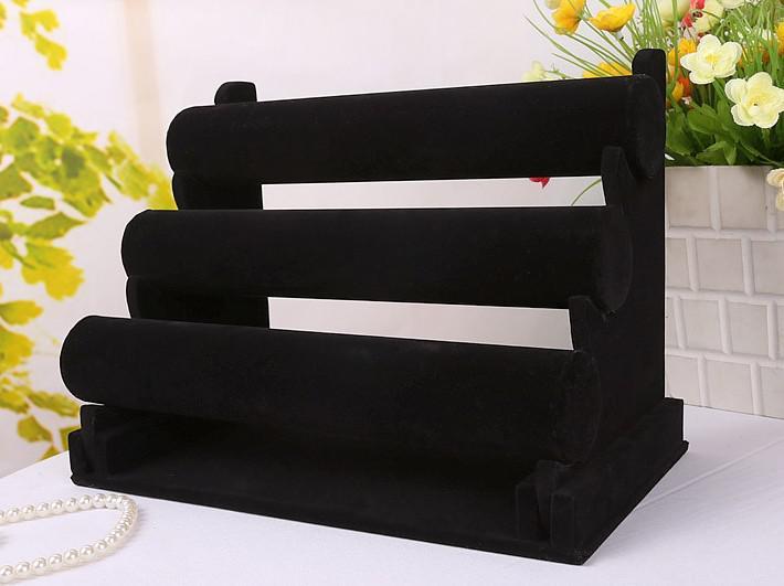 Yeni Takı Ekran Siyah 3 Katmanlar Kadife Bileklik Saat Ekran Takı Tutucu Ayrılabilir EC1 Standı