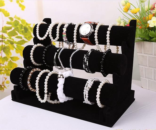 Nieuwe Sieraden Display Zwart 3 Lagen Velvet Armband Horloge Display Sieraden Houder Stand Afneembaar EC1