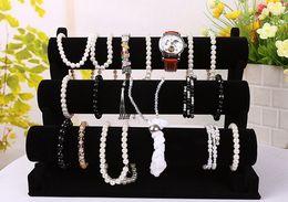 Wholesale black velvet bracelet holder - New Jewelry Display Black 3 Layers Velvet Bracelet Watch Display Jewelry Holder Stand Detachable EC1