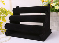 Wholesale Black Velvet Bracelet Holder - New Jewelry Display Black 3 Layers Velvet Bracelet Watch Display Jewelry Holder Stand Detachable EC1