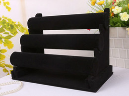 Wholesale Displays Stands - New Jewelry Display Black 3 Layers Velvet Bracelet Watch Display Jewelry Holder Stand Detachable EC1
