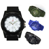 Wholesale Trendy Digital Wrist Watches - HOT 100Pcs Luxury Analog New Fashion Trendy Sport Military Style Wrist Watch for Men Watch Black White Green Blue - Utop2012