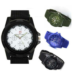 Wholesale Trendy Fashion Watches - HOT 100Pcs Luxury Analog New Fashion Trendy Sport Military Style Wrist Watch for Men Watch Black White Green Blue - Utop2012