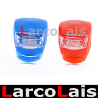 Wholesale Silicone Bike Cycling Rubber Light - 10PCS GEL Silicone Cycling Bike Bicycle Rubber Tail Light LED Front Rear Flash Warning Lamp Red Blue Free Shipping