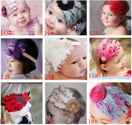 Fleurs De Plumes De Diamant Pas Cher-Cuter !!! New Fashion Hot Infant Baby Toddler Feather Flower Diamond Bow Headband Headwear doux Bande de cheveux 20pcs / lot QS353