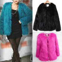 Wholesale Womens Trendy Jackets - New Fashion Trendy Candy Womens Ladies Faux Fur Vintage Warm Coat Casual Party Jacket Coat Tops Free Shipping