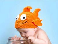Wholesale Fish Beanies - Newborn Baby Crochet Hats Clown Fish Knit Lovely Caps Infant Handmade Cartoon Toddler Beanie BB36