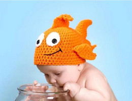 Wholesale Handmade Crochet Fish - Newborn Baby Crochet Hats Clown Fish Knit Lovely Caps Infant Handmade Cartoon Toddler Beanie BB36