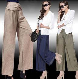Calças compridas casuais das mulheres do Hot-selling 2014 plus size calças de pernas largas, A137 venda por atacado
