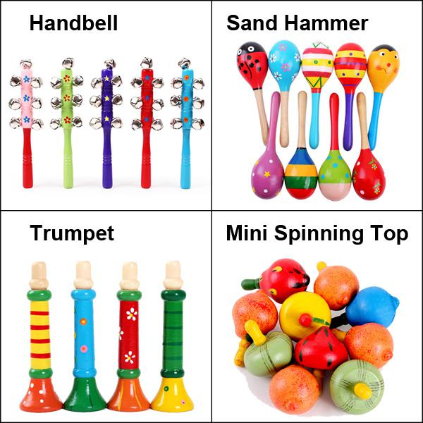 2019 4 Styles Wooden Toys Baby Toys Mini Spinning Top